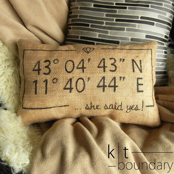 Personalized Map Coordinates Burlap Pillow - She said yes! by ktboundary24