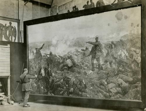 "Official war artist Richard Jack working on his painting ""The Second Battle of Ypres"" depicting Canadian soldiers making a stand against a German assault, c. 1917. [[MORE]]chubachus: A posed photo of official artist Richard Jack at work on his iconic painting, The Second Battle of Ypres. Source.  War artist Richard Jack portrays the Canadian stand during the Second Battle of Ypres, which he did not witness. He painted this enormous work of art, with the canvas 371.5 x 589.0 cm, in his London…"
