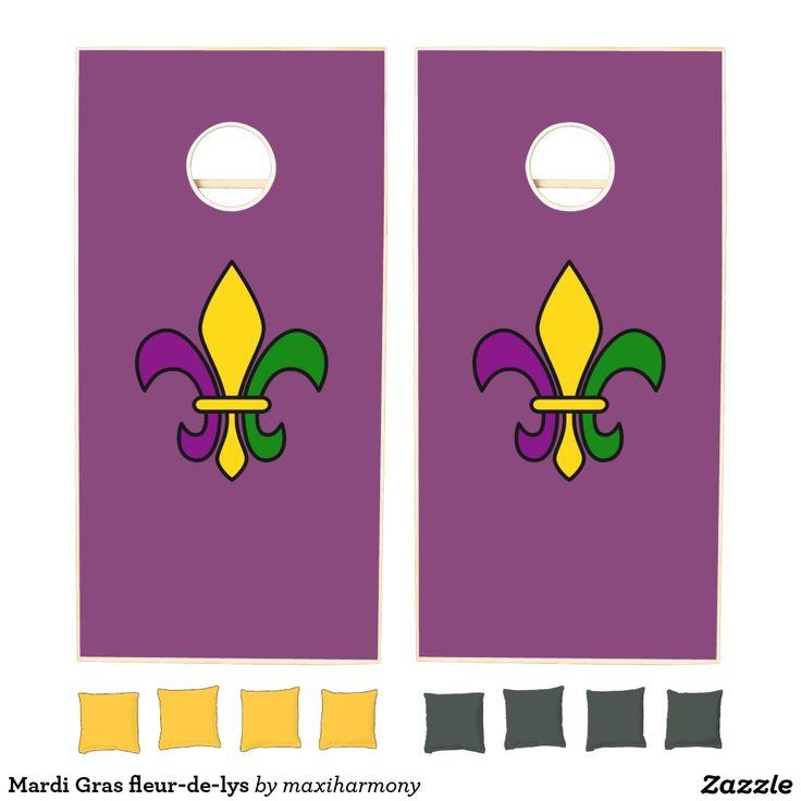 Mardi Gras fleur-de-lys Cornhole Set