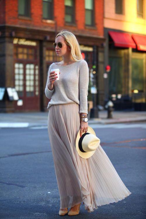 light beige sweater with a round neck, light beige pleated chiffon maxi skirt, b…