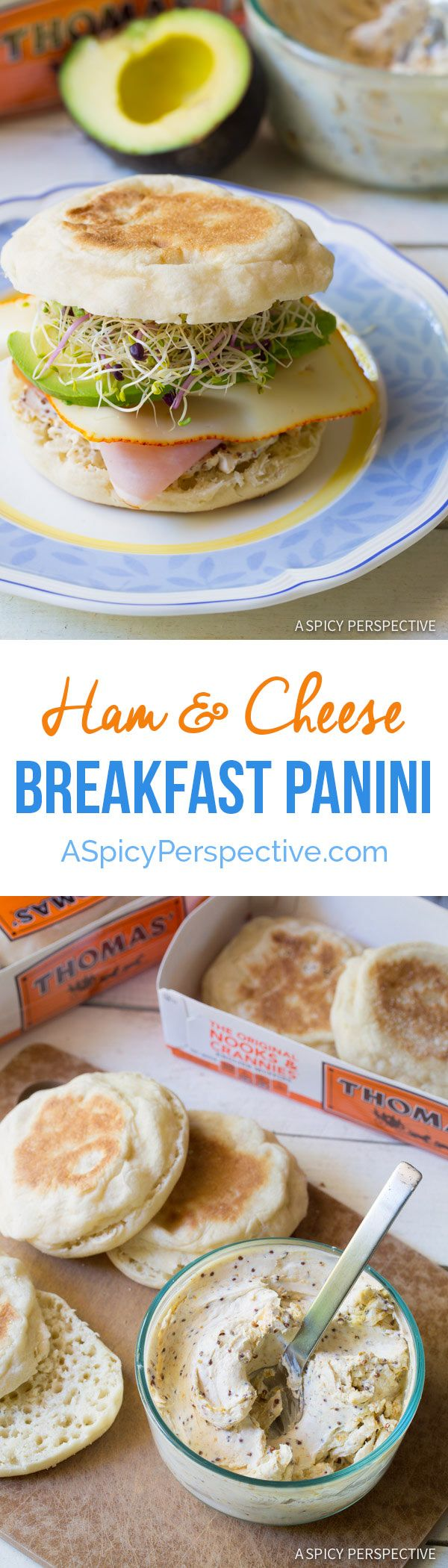 Fresh and Fabulous Ham and Cheese Breakfast Panini - Toasted English Muffins topped with savory cream cheese spread, ham, melted cheese, and avocado. Breakfast Sandwich Recipe