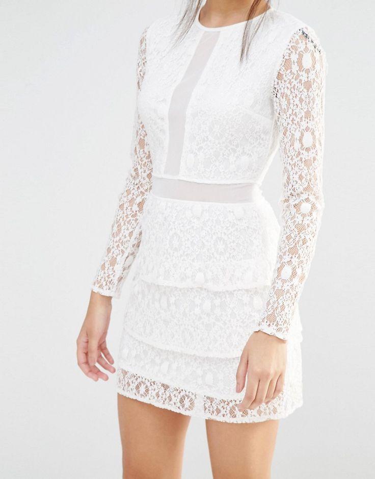 Image 3 ofMissguided Mesh Insert Lace Skater Dress