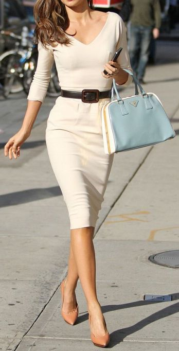 lovely nude pencil dress, nude pumps, black waist belt added to give definition