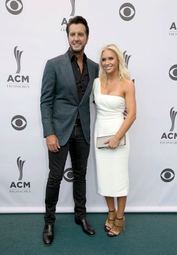 Luke Bryan and Caroline Bryan at the 10th annual ACM Honors at Ryman Auditorium on August 30, 2016 in Nashville, Tennessee.