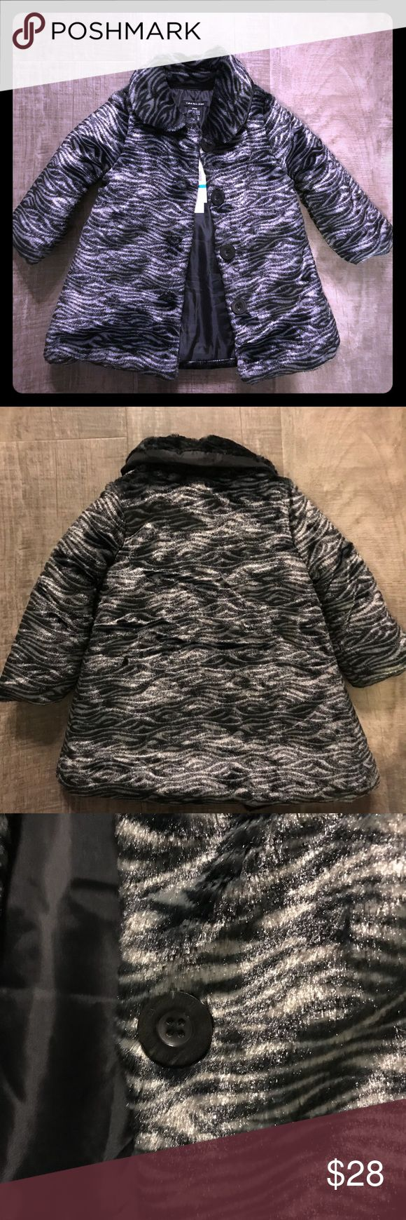 Calvin Klein Jeans infant girls faux fur coat Adorable gray and black lined faux fur coat. Button down coat is new with tags and size 24 months. Calvin Klein Jeans Jackets & Coats Pea Coats