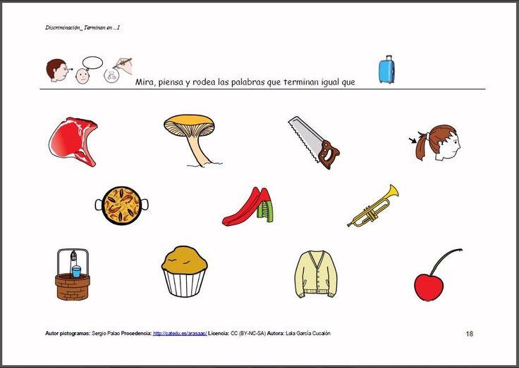 Material para trabajar la discriminación auditiva. También puede servir para trabajar el vocabulario, inventar pareados con las palabras que terminan igual, formar frases, adivinanzas...  http://arasaac.org/materiales.php?id_material=1008