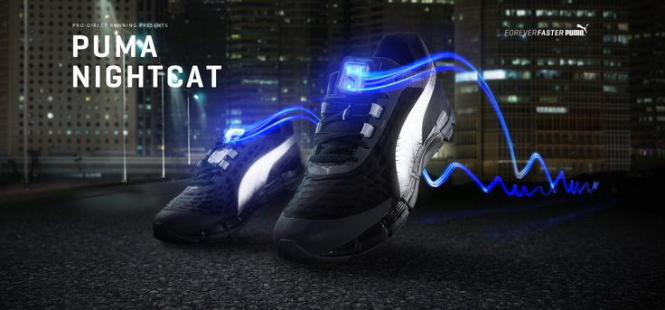 PUMA Running - Night Cat // 'The Faas 600 V2 Nightcat Powered running shoes feature innovative, rechargeable LEDs with optical fibres on the tongues that illuminate for enhanced visibility.' (2014) £89.99