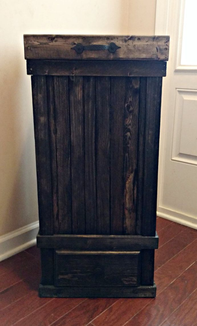 Wood Trash Can with Drawer Kitchen Trash Can Country Kitchen