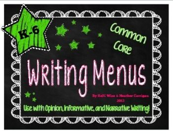 These writing menus parallel the popular reading CAFE menu (by Gail Boushey and Joan Moser @ www.thedailycafe.com).  My teaching partner, Heather, and I LOVED the The Sisters' reading instruction and assessment system so much that we came up with a reciprocal writing system.  :)   Because we teach in Pennsylvania, we modeled our original FOCUS on 5 menu off of PA's 5 Domains of Writing.