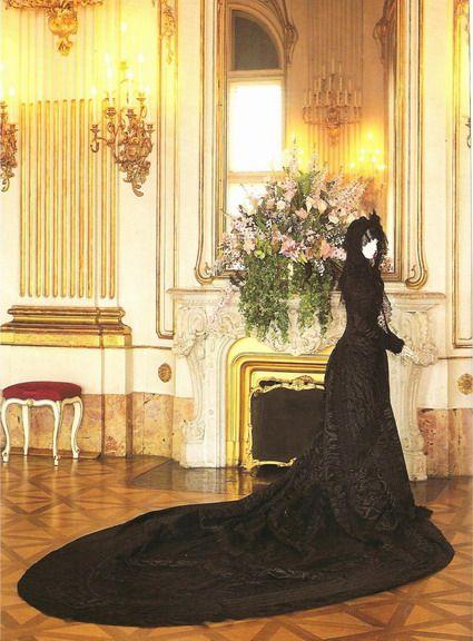 Mourning dress.  Empress Elizabeth of Austria kniwn as Sissi