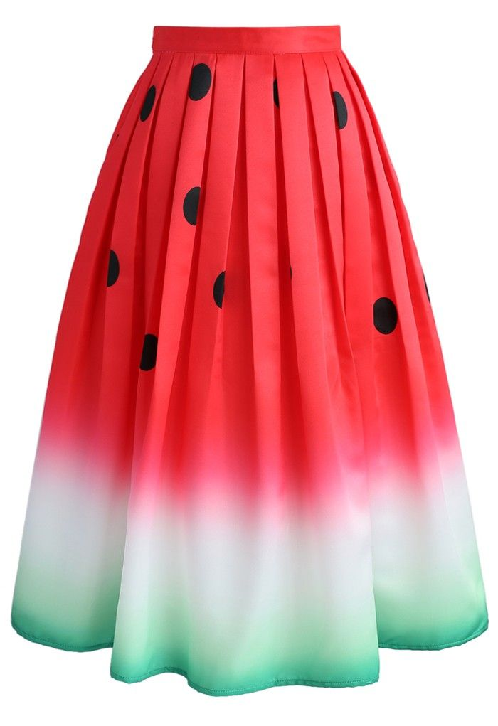 Watermelon Printed Midi Skirt