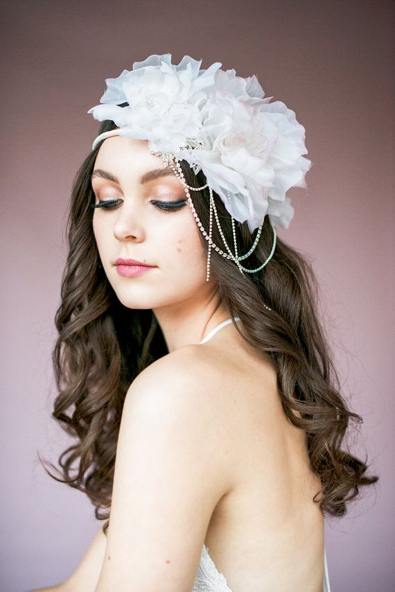 AMANDA Floral Crown, Floral Crown, Crystal Floral Crown, Blush Floral Crown, Ivory Floral Crown, Floral Headpiece, Floral Headband, Crown