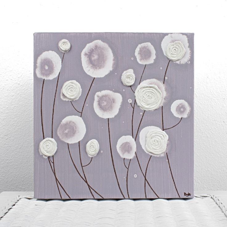 flower Paintings On Canvas   SALE - Purple Flower Painting on Small Canvas - Textured Nursery Art ...