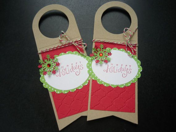 Christmas Wine Bottle Tags Set of 2 Happy by apaperaffaire on Etsy, $4.75