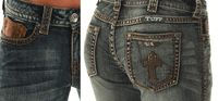 "Sale! ""Crosses Shimmer Brown"" Jeans by Cowgirl Tuff"