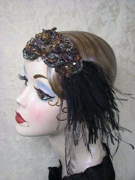1920's feathered head decoration: 1920 S, 1950S Hats, 1920S Headpieces, 1920S Parties, 1920S Inspiration, 1920S Hairpiece, 1920S Dresses, 1920S Headbands, Costumes Ideas