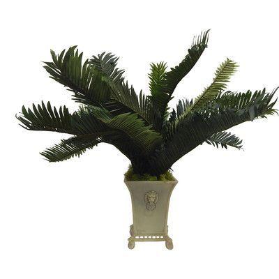 Rosalind Wheeler Tropical Faux Sago Palm Desktop Plant in a Lion's Head Urn