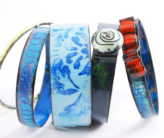 SAD SAPPHIRE  enameled bangles set by OYRZANOWSKA on Etsy