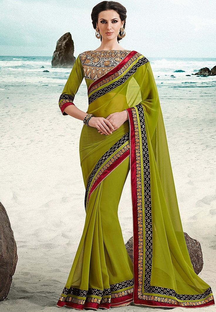 Green Embroidered Saree at $104.69 (24% OFF)