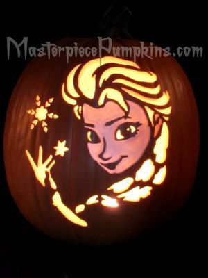 """""""Princess Elsa"""" - from the """"Frozen"""" movie. Carving pattern available from our """"Famous Faces"""" Carving Patterns page."""