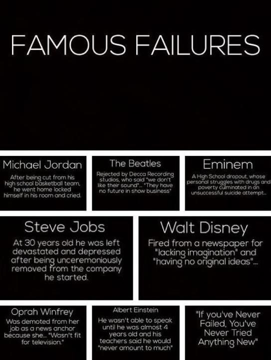 Failure doesn't have to be permanent...and these are not an excuse, but rather a reason to KEEP TRYING!