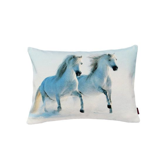 Handmade Designer Snow Horses Cushion by Textiler