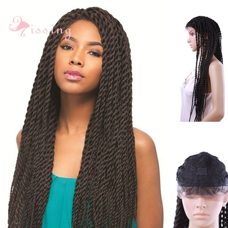 28 pouces 2X twist Sénégalaise dentelle perruques Longue Tresse Perruque Synthétique Tressé Dentelle Avant perruques afro-tressage Perruques Pour africain américain
