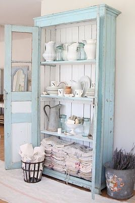 """Thinking about trying to make something like this for a wall in the kitchen that has no cabinets on it. I want to be able to display a few things, but hide things at the same time. Old book case with wither shutters for doors to hide items or old windows and use a frosted window treatment for the areas where I don't want people to see things."""