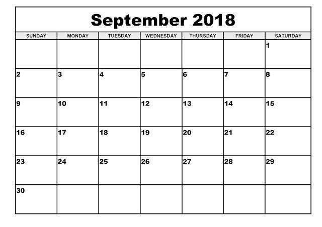 Blank September Calendar 2018 September 2018 Blank Calendar 2018