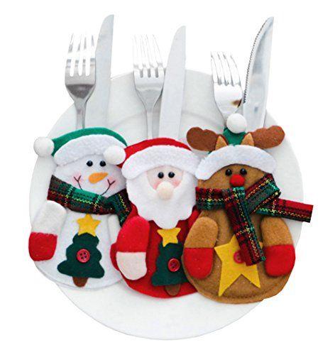 CHIC-CHIC Porte-Couverts Serviette Couteaux Fourchette Cuillère Forme de Costume Père Noël Décoration Noël Décoration Table Poche de…