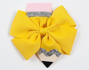 Pencil Hair Bow, Back to School Hair Bow, Pencil Hair Clip, School Hair Bow, Yellow Hair Bow, Pencil Bow, Girls Hair Bow (Item #10144)