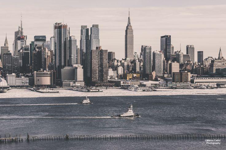 Manhattan Skyline, seen across the Hudson river from Weehawken.