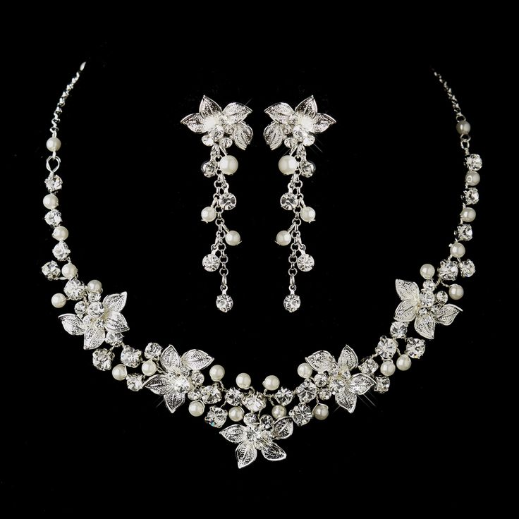 White Pearl and Rhinestone Floral Wedding Jewelry Set - Affordable Elegance Bridal -