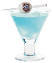 Mad Eye Martini - Name is great, drink doesn't matter, but here's instructions for eyeball:  Lychee Eyeball Garnish:   Dry lychee (1 canned grade AA lychee in syrup, drained) and fill with preserves (any flavor)  Place blueberry, blossom end facing out, into the cavity.   Skewer with cocktail pick