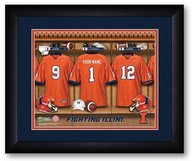 Illinois Fighting Illini Personalized Locker Room Print