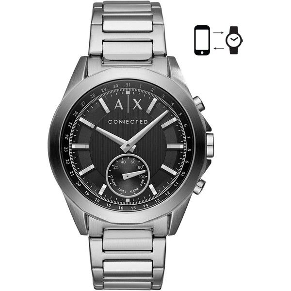 A|X Armani Exchange Men's Connected Stainless Steel Bracelet Hybrid... (270 CAD) ❤ liked on Polyvore featuring men's fashion, men's jewelry, men's watches, silver, mens analog watches, mens watches, mens stainless steel watches and mens watches jewelry