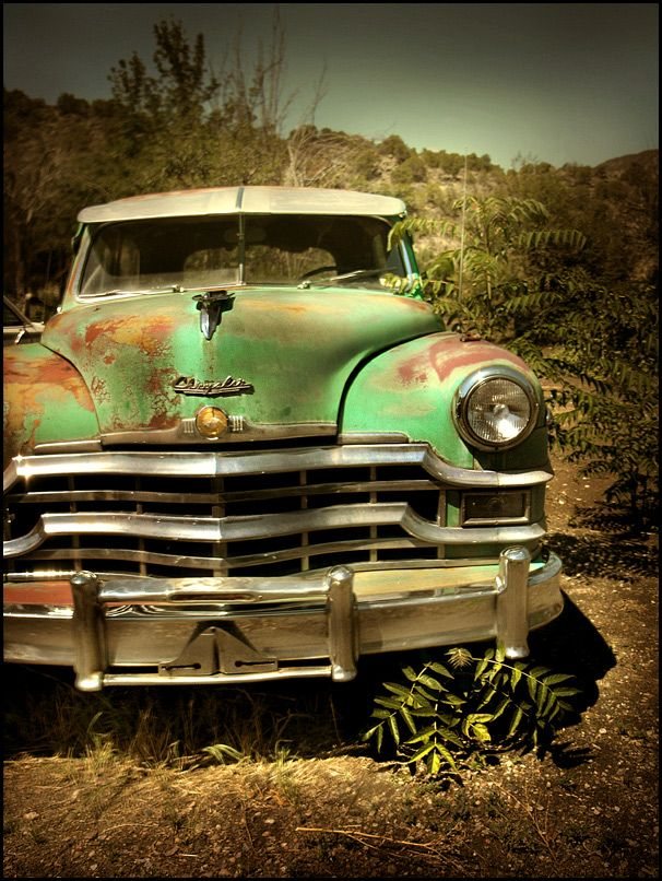 Vintage Chrystler  I was drawn to the rusted green paint job  talk about  patina. 575 best Old Truck   Car Art images on Pinterest   Abandoned