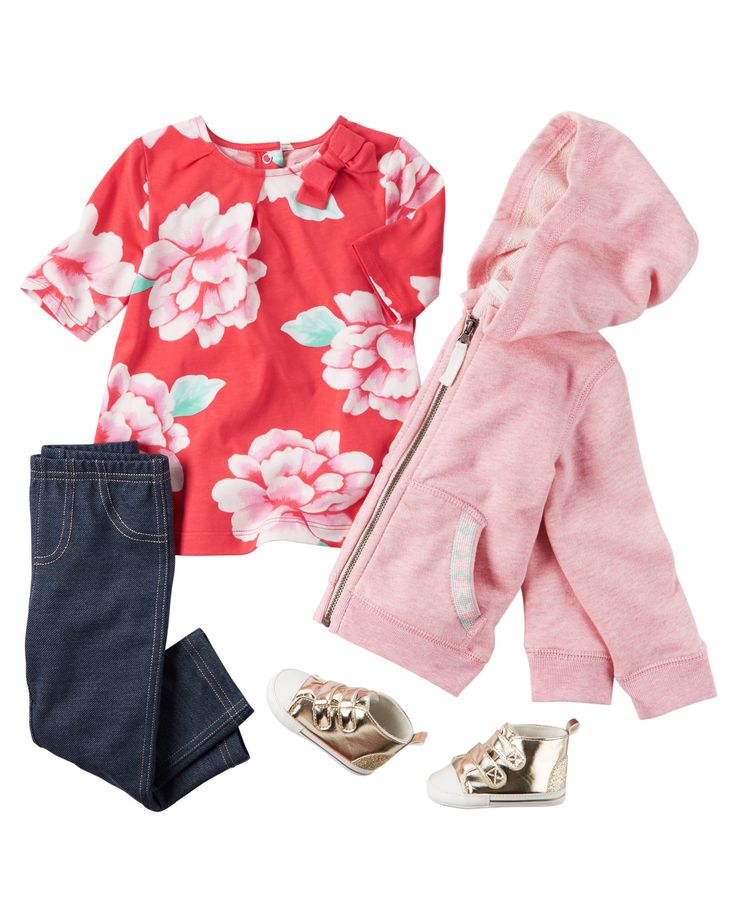 Shop all baby girl sets now! From the classroom to the playground, stretchy jeggings and a floral top make a classic outfit combo.