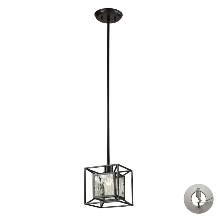 Cubix 1 Light Pendant In Oiled Bronze - Includes Recessed Lighting Kit 14121/1-LA