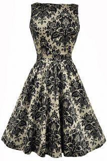 Cool Mint Floral Chiffon Tea Dress : Lady Vintage