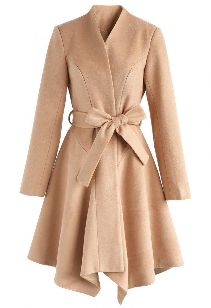 Flare Stylishness Belted Wool-Blend Coat in Light Tan - New Arrivals - Retro, Indie and Unique Fashion