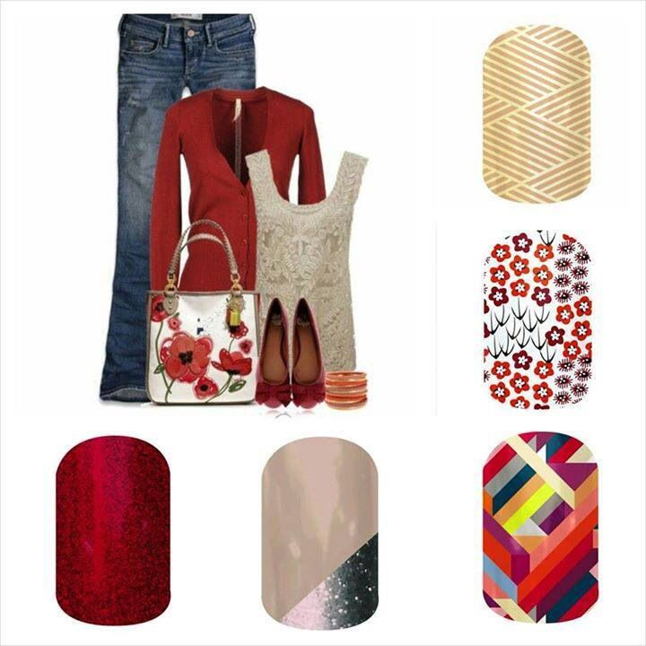 Jamberry Nails - Cherry Ice, Champagne Toast, Double-Crossed, Harvest Blooms, and Gold Crisscross.