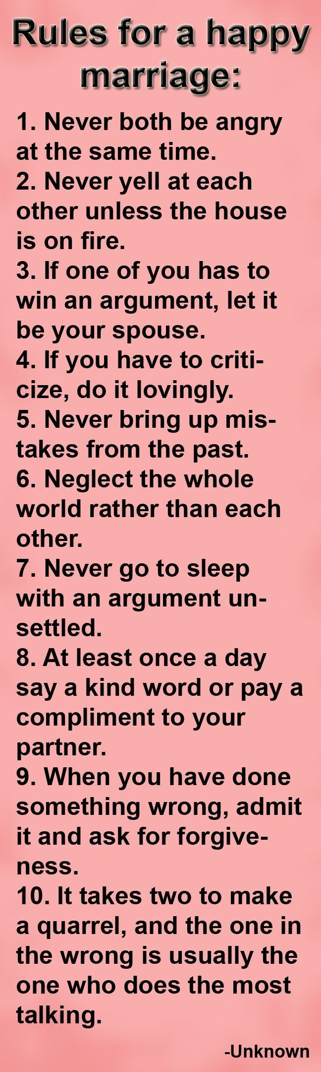 Very good rules I think the most important thing I ve learned from marriage