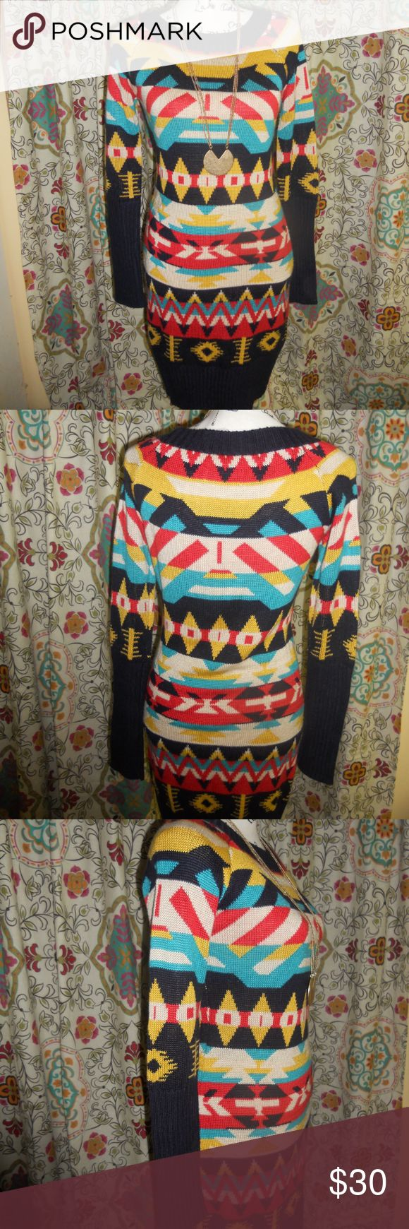 Jessica Simpson Aztec Sweater Dress size Medium EUC Jessica Simpson Aztec sweater dress size medium. Multi-colors to include navy blue, yellow, teal, red, and cream.  A fabulous addition to any wardrobe.  I'm an avid thrift and vintage shopper.  I do the leg work for designer names at affordable prices.  I will do my best to notate any flaws on new or used clothes. My pieces are from my own closet or second hand shops.  Feel free to bundle or send offers.  I live to shop, so help me clean…