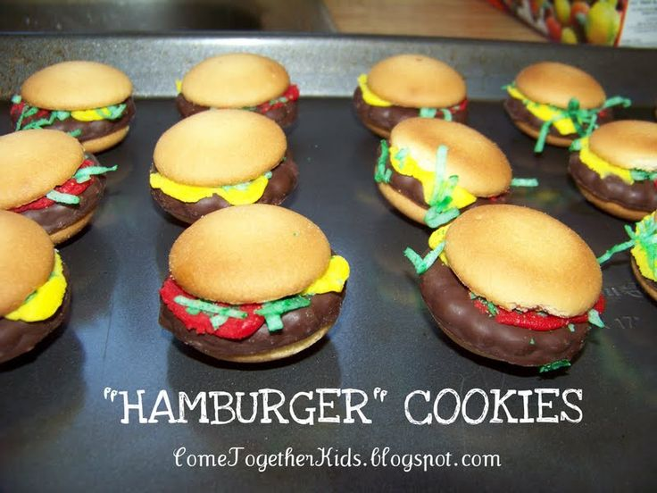 Hamburger Cookies:  Vanilla wafers, Keebler mint grasshopper cookies, red and yellow easy squeeze frosting, coconut flakes with green food coloring.