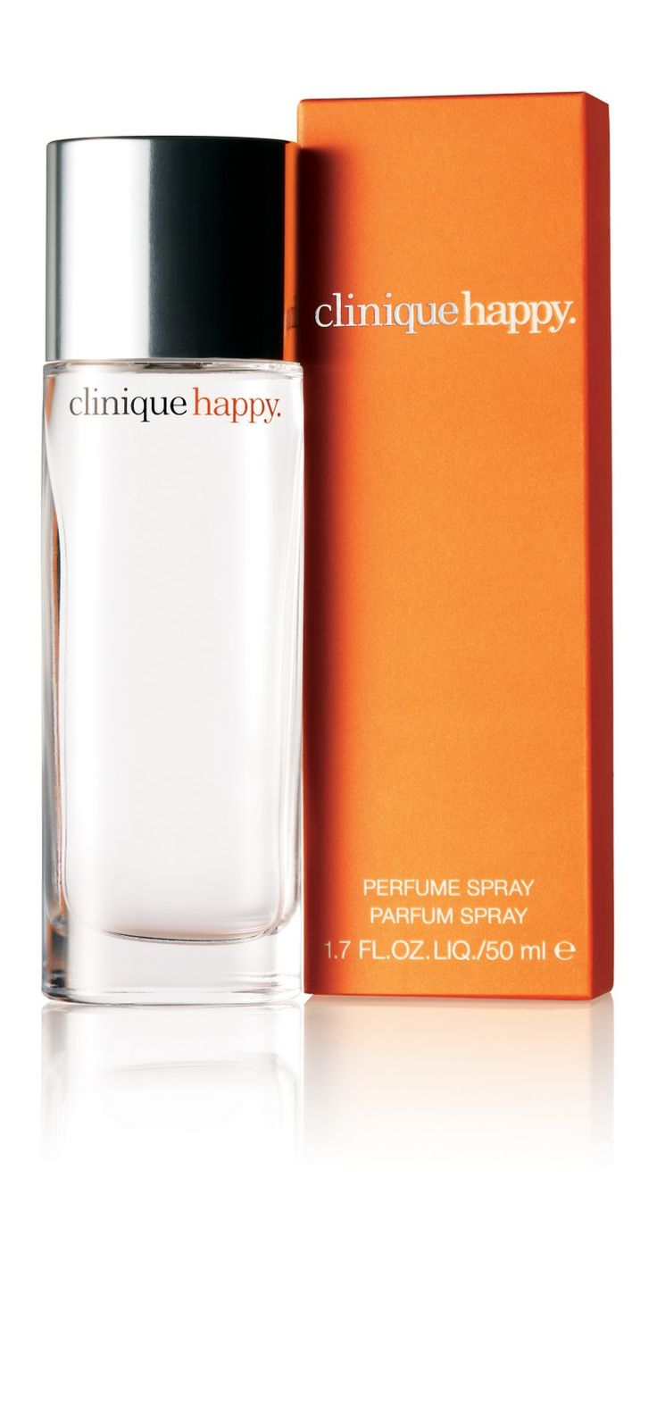 Clinique Happy. A chic, modern, multi-layered floral with sparkling, lingering fragrance of Ruby Red Grapefruit, Boysenberry Bush Flower and Hawaiian Wedding Flower.