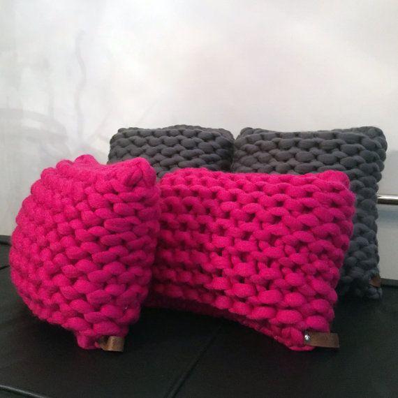 Decrease Knitting Garter Stitch : Knitted super chunky rectangular cushion. Giant knit merino wool statement cu...