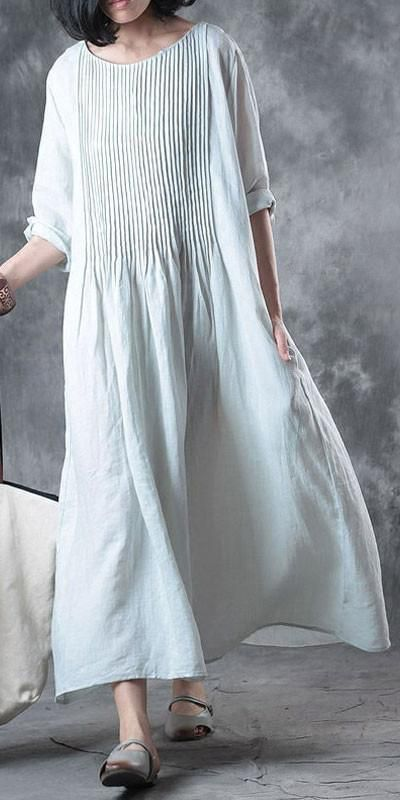 Fine-long-linen-dress-Loose-fitting-Solid-Loose-Folded-Pocket-Women-Elbow-Sleeve…