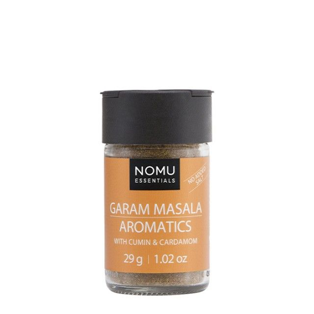 NOMU Spice Blends - Garam Masala Aromatics: An aromatic blend of Indian spices to add warmth and depth to your dishes. Our own unique take on a classic garam masala blend and ideally suited to most curries and Indian inspired bakes.