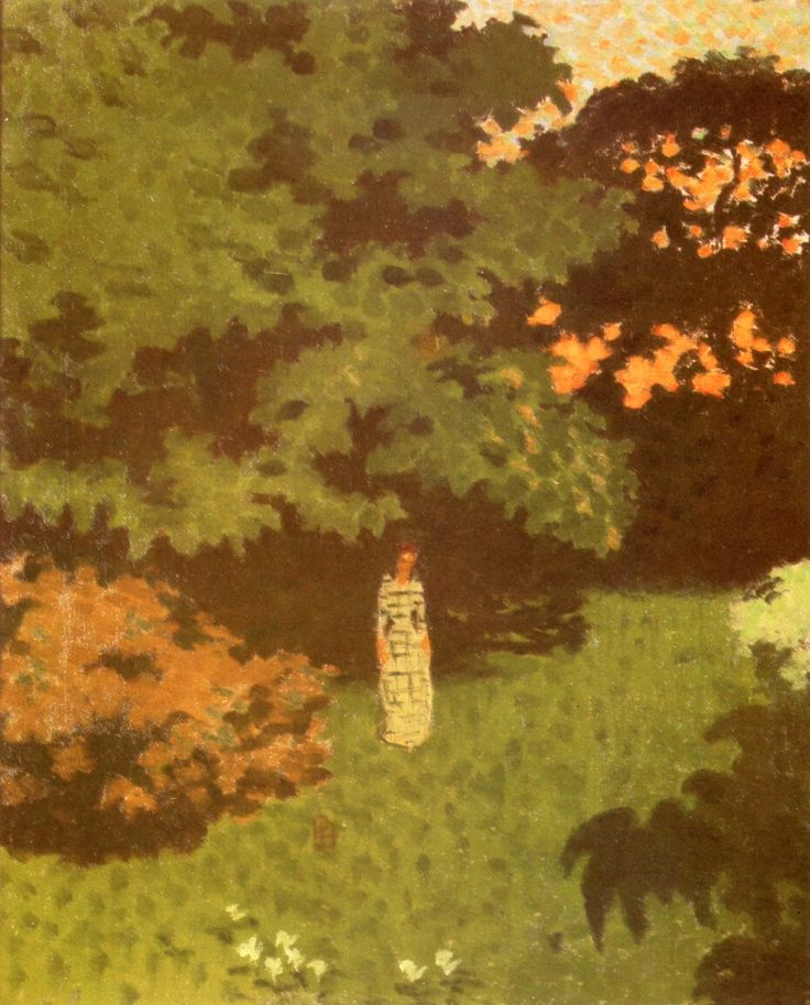 Young Woman in a Landscape (also known as Madame Claude Terrasse in the Enclosed Garden at Grand-Lemps), 1892 / Pierre Bonnard: